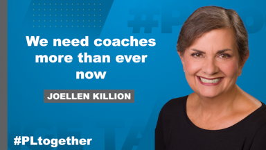 Joellen Killion with text: We need coaches more than ever now