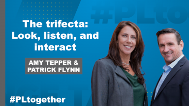 "Tepper and Flynn with text: ""The trifecta: Look, listen, and interact"""
