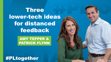 "Tepper and Flynn with text ""Three lower-tech ideas for virtual feedback"""