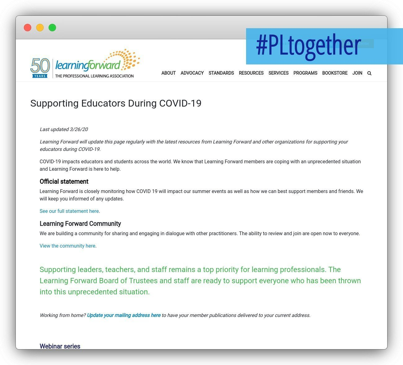 screenshot of learning forward site
