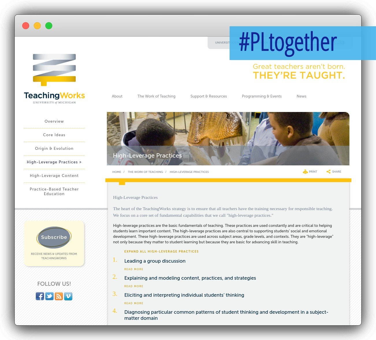 screenshot of teachingworks site
